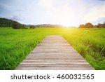wood bridge walk in field at... | Shutterstock . vector #460032565