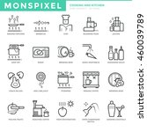 flat thin line icons set of... | Shutterstock .eps vector #460039789