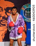 Small photo of LONDON, ENGLAND - JULY 22, 2016: Boxer Muhammad Ali, Sport section, Madame Tussauds wax museum. It is a major tourist attraction in London