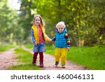 kids playing in autumn park.... | Shutterstock . vector #460046131