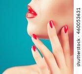 beautiful woman wearing... | Shutterstock . vector #460053631
