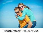 happy young joyful guy and girl ... | Shutterstock . vector #460071955
