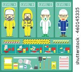 chemical spill response with... | Shutterstock .eps vector #460145335