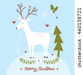 christmas greeting with cute... | Shutterstock .eps vector #460158721