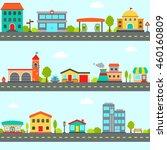 simple city street landscape... | Shutterstock .eps vector #460160809