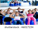 group of people at the gym in a ... | Shutterstock . vector #46017154