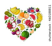 fruit heart. various summer... | Shutterstock . vector #460188811
