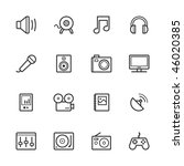 multimedia icons. strokes have... | Shutterstock .eps vector #46020385