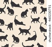 cats silhouette seamless... | Shutterstock .eps vector #460230751
