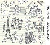 love in paris doodles | Shutterstock .eps vector #46023202