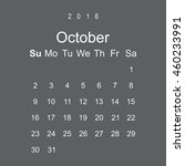 calendar october 2016 vector... | Shutterstock .eps vector #460233991