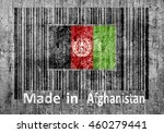 Small photo of Bar code on concrete Made in Afghanistani