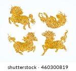 golden cute baby unicorns set ... | Shutterstock .eps vector #460300819