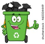 Happy Green Recycle Bin Cartoon Mascot Character Full With Garbage Bags Giving A Thumb Up. Vector Illustration Isolated On White Background