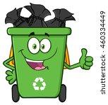 happy green recycle bin cartoon ... | Shutterstock .eps vector #460334449