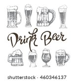 vector set of beer glasses and... | Shutterstock .eps vector #460346137