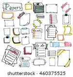 set of hand drawn paper notes ... | Shutterstock .eps vector #460375525