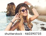 portrait of attractive blonde... | Shutterstock . vector #460390735