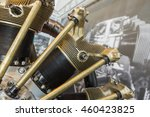 Small photo of Piece of equipment of big aircraft engine closeup, a aircraft engine detail in the exposition