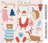 christmas set with cute santa... | Shutterstock .eps vector #460462069