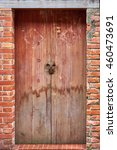Old Wood Door Red Brick.