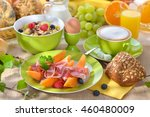 laid breakfast table with... | Shutterstock . vector #460480009