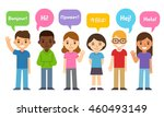 diverse group of kids saying hi ... | Shutterstock .eps vector #460493149
