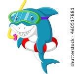 cute shark cartoon with... | Shutterstock .eps vector #460517881