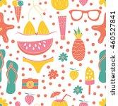 vector seamless summer pattern. ... | Shutterstock .eps vector #460527841