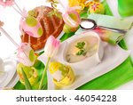 traditional white borscht and ring cake on  easter table - stock photo