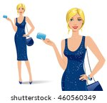 sexy blonde woman wearing... | Shutterstock .eps vector #460560349