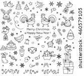 christmas doodle icons set.... | Shutterstock .eps vector #460579105