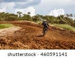 Motocross Racer Accelerating In ...