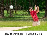 golfer hit golf ball from sand... | Shutterstock . vector #460655341