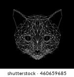 Stock vector vector cat thin line style cat low poly design illustration abstract mammal animal geometric 460659685