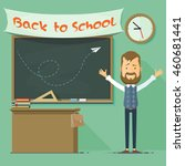 a teacher at the blackboard ... | Shutterstock .eps vector #460681441