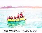 banana boat fun for group of... | Shutterstock . vector #460713991