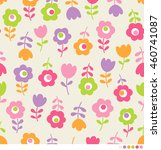 cute flowers pattern background | Shutterstock .eps vector #460741087
