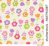 cute flowers pattern background | Shutterstock .eps vector #460741087