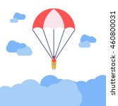 Person With Parachute Jumping...