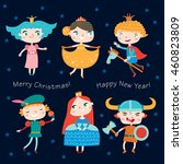 christmas costume party. set of ... | Shutterstock .eps vector #460823809