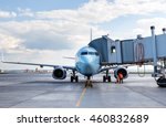 commercial airplane parked at... | Shutterstock . vector #460832689