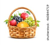 basket with fruits isolated on... | Shutterstock .eps vector #460844719