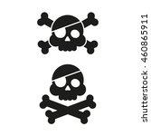 skull and crossbones flat icon. ... | Shutterstock . vector #460865911