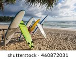 surfboards available for rent... | Shutterstock . vector #460872031