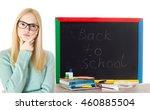 smart girl with glasses ... | Shutterstock . vector #460885504