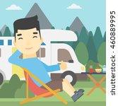 an asian man sitting in a... | Shutterstock .eps vector #460889995
