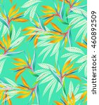 seamless turquoise floral...   Shutterstock . vector #460892509