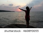 Silhouette Of A Girl With Long...