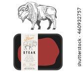 vintage bison buffalo engraving ... | Shutterstock .eps vector #460932757